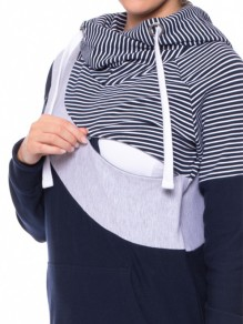 Navy Blue Striped Pockets Drawstring Hooded Casual Multi-Funktions Sweatshirt