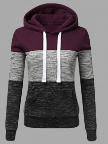Wine Red Color Block Drawstring Pockets Hooded Long Sleeve Casual Sweatshirt