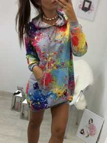 Grey Floral Drawstring Pockets Fashion Hooded Sweatshirt