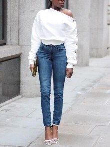 White Irregular One Shoulder Single Breasted Long Sleeve Casual Pullover Sweatshirt