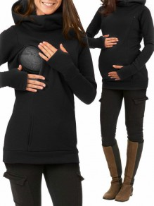 Black Pockets Hooded Long Sleeve Casual Maternity Sweatshirt