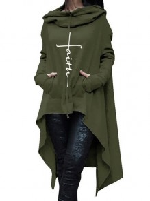 Green Drawstring Pockets Draped High-Low Hooded Long Sleeve Casual Sweatshirt