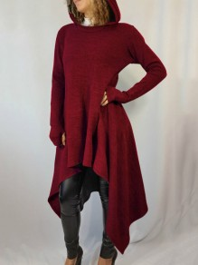 Red Pleated High-Low Hooded Rosatic Witch Long Sleeve Casual Sweatshirt