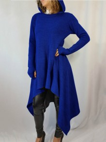 Blue Pleated High-Low Hooded Rosatic Witch Long Sleeve Casual Sweatshirt