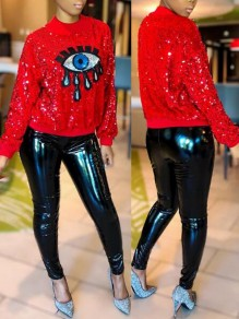 Red Eye Sequin Glitter Long Sleeve Sparkly New Year EVE Casual Pullover Sweatshirt