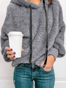 Grey Patchwork Drawstring Hooded Going out Sweatshirt
