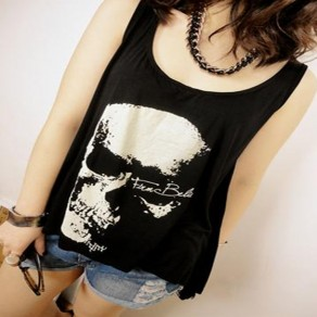 Black Skull Print Irregular Hollow-out Backless Round Neck Oversized Vest