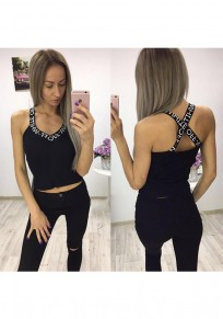 Black-White Monogram Print Cross Back V-neck Spaghetti Strap Vest