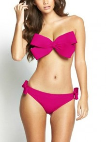 Rose Carmine 2-in-1 Crop Bow Bandeau Slim Swimwear