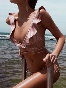 Pink Striped 2-in-1 Ruffle Belt V-neck Slim Swimwear