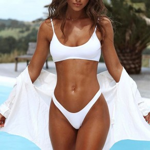 White 2-in-1 Round Neck Fashion Slim Nylon Swimwear