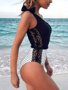 Black Striped Lace Bow Fashion Swimwear