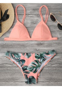 Pink Leaf Floral Condole Belt 2-in-1 V-neck Swimwear
