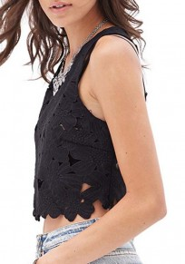 Black Floral Cut Out Shoulder-Strap Sweet Going out Vest