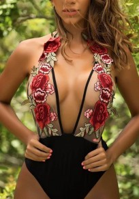 Black Patchwork Grenadine Embroidery Fashion Swimwear