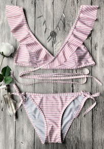 Pink Striped Print Ruffle Lace-up Two Piece Sweet Swimwear
