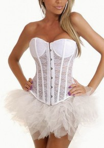 White Lace Single Breasted Off Shoulder Backless Clubwear Party Vest