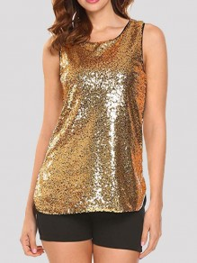 Golden Patchwork Sequin Round Neck Sparkly Fashion Vest