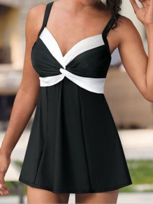 Black Patchwork Knot Draped Spaghetti Strap V-neck Fashion Tankini