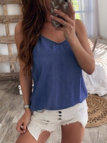 Blue Bow Spaghetti Strap Backless V-neck Fashion Vest