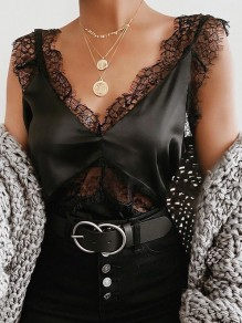 Black Patchwork Lace Spaghetti Strap Deep V-neck Fashion Vest