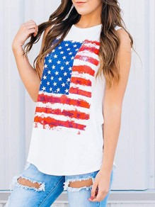 White American Flag American Independence Day Casual Vest