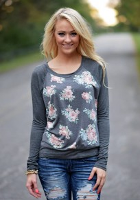 Grey Flowers Round Neck Long Sleeve Casual Cotton Blend T-Shirt