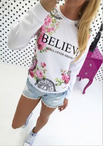White Flowers Monogram Print Long Sleeve Fashion T-Shirt