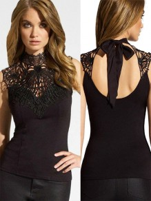 Black Patchwork Lace High Neck Backless Sleeveless Cotton T-Shirt For Women
