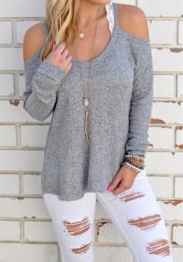 Grey Plain Cut Out Round Neck Fashion Cotton T-Shirt
