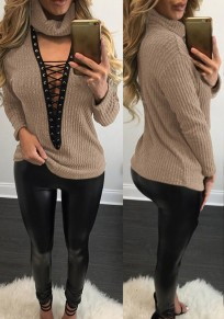 Khaki Plain Drawstring Plunging Neckline Long Sleeve T-Shirt