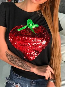 Black Patchwork Strawberry Sequin Pattern Round Neck T-Shirt
