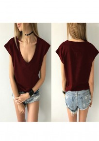 Wine Red Deep V Short Sleeve Casual T-Shirt