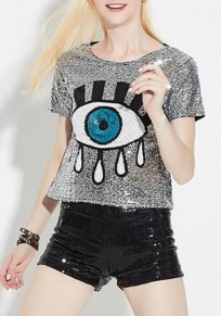 Silver Patchwork Eyes Print Sparkly Short Sleeve Casual T-Shirt
