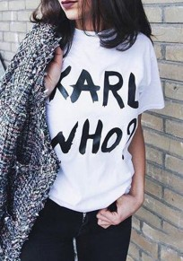 White Monogram KARL WHO Print Round Neck Short Sleeve Casual T-Shirt