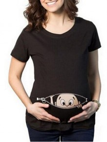 Black Print Cartoon Plus Size Maternity Short Sleeve Round Neck T-Shirt