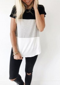 Black-White Patchwork Striped Round Neck Short Sleeve Casual T-Shirt