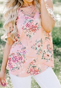 Pink Floral Off Shoulder Cut Out V-neck Short Sleeve T-Shirt