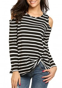 Black-White Striped Print Cut Out Knot Round Neck Long Sleeve Casual T-Shirt