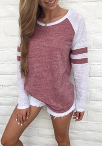 Red-White Patchwork Round Neck Long Sleeve Casual T-Shirt