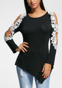 Black Patchwork Cut Out Irregular Round Neck Casual T-Shirt