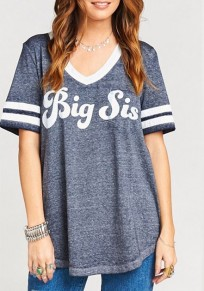Grey Letter Round Neck Short Sleeve Casual T-Shirt
