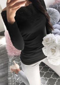Black Plain Lace Boat Neck Long Sleeve Casual T-Shirt