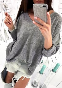 Grey Plain Pockets V-neck Long Sleeve Fashion T-Shirt