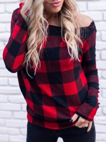Red Plaid Buffalo Irregular One Off Shoulder Asymmetric Shoulder Long Sleeve T-Shirt