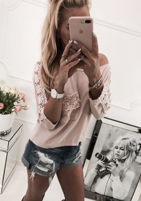 Pink Patchwork Lace Print Ruffle Round Neck Casual T-Shirt