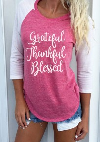 Pink Monogram Print Three Quarter Length Sleeve Round Neck Casual T-Shirt