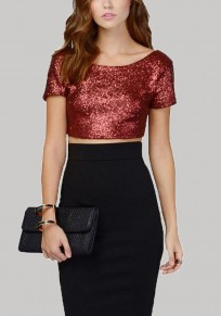 Burgundy Patchwork Sequin Crop Top Christmas Backless Short Sleeve T-Shirt