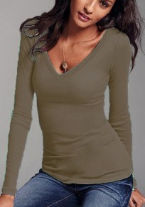 Khaki Plain Plunging Neckline Long Sleeve Casual Cotton T-Shirt