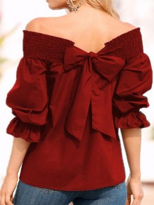 Burgundy Tie Back Bow Lace Up Off Shoulder Backless Long Sleeve Casual Going out Cute T-Shirt